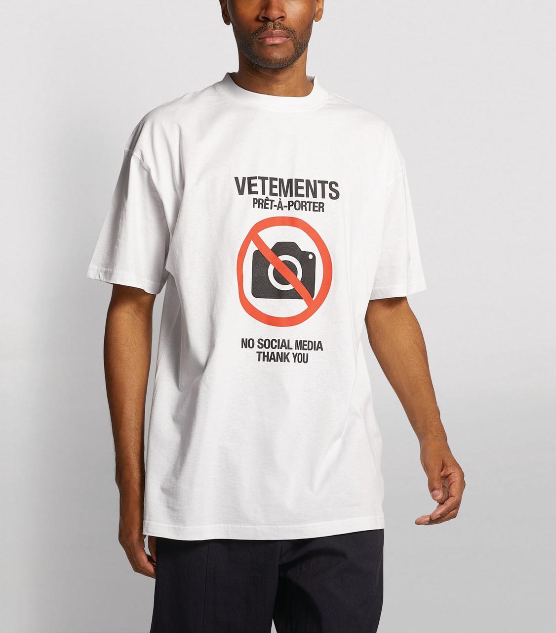 Футболка біла Vetements No Media • Ветеменс футболка чоловіча | жіноча | дитяча