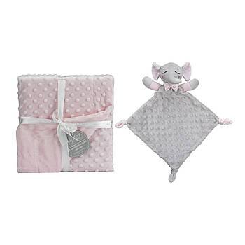Плед с игрушкой-одеялом Interbaby Bubble Dou dou elephant pink 110х80