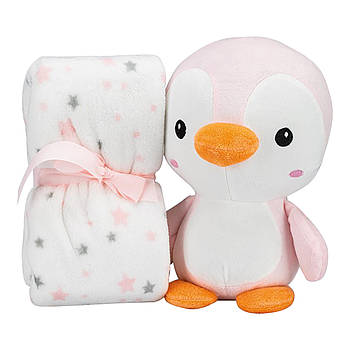 Плед Interbaby Flecce plush toy pinguin pink 110х80