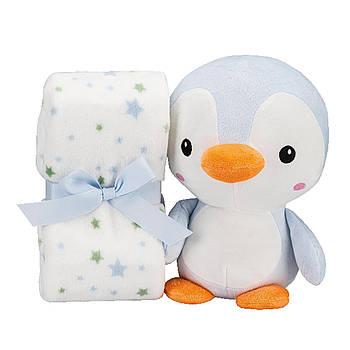 Плед Interbaby Flecce plush toy pinguin blue 110х80