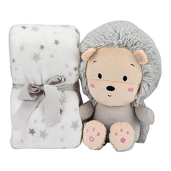 Плед Interbaby Flecce plush toy lion gray 110х80