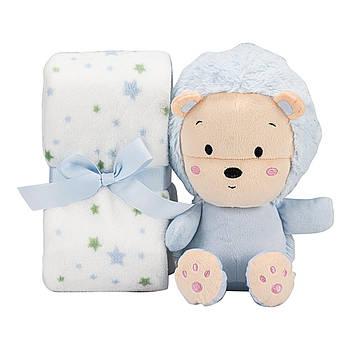 Плед Interbaby Flecce plush toy lion blue 110х80 см