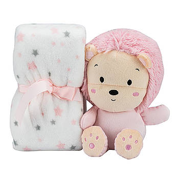 Плед Interbaby Flecce plush toy lion pink 110х80