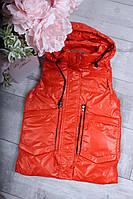 Демисезонная детская жилетка КАРМАНЫ для девочки 2-6 лет,оранжевого цвета