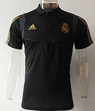 Мужская спортивная футболка поло, с воротником Реал Мадрид, 2019-2020 черная