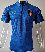 Мужская спортивная футболка поло, с воротником Италии синяя