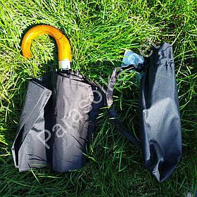 Мужской зонт с деревянной ручкой Серебряный дождь арт.801-а