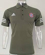 Мужская спортивная футболка поло Бавария хаки, с воротником