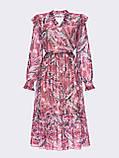 Рожеве шифонова сукня-міді з принтом і V-подібним вирізом горловини, фото 5