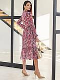 Рожеве шифонова сукня-міді з принтом і V-подібним вирізом горловини, фото 4