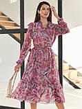 Рожеве шифонова сукня-міді з принтом і V-подібним вирізом горловини, фото 2