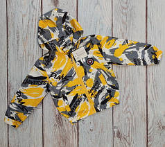 Демисезонная детская куртка ветровка для мальчика желтая 2-3 года