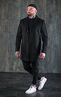 Пальто мужское классическое черное из хлопка на пуговицах осенние