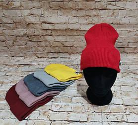 Женская трикотажная шапка с лопаткой с подворотом Karl Lagerfeld Карл Лагерфе́льд