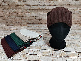 Женская демисезонная трикотажная шапка с люрексом чулок колпак гуччи