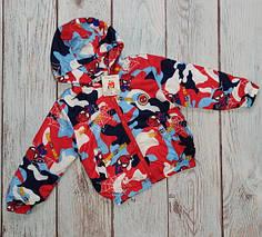 Демисезонная детская куртка ветровка для мальчика красный 6-7 лет