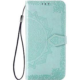 Кожаный чехол-книжка Samsung A02s | Art Case с визитницей Бирюзовый