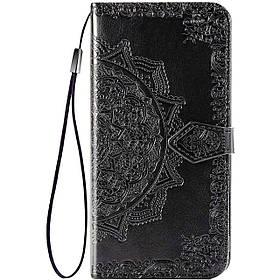 Кожаный чехол-книжка Samsung A02s | Art Case с визитницей Черный