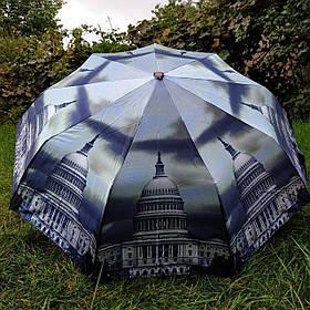 Зонт жіночий сірий з малюнком Місто арт 790-8