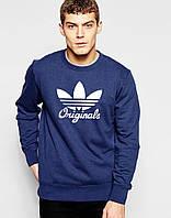 Спортивная кофта Адидас, Мужская кофта Adidas Originals, темно-синяя, трикотажная, реглан, свитшот