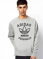 Спортивная кофта Адидас, мужская кофта Adidas, светло серая, меланж, трикотажная, реглан, свитшот