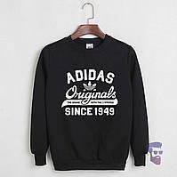 Спортивная кофта Адидас, Мужская кофта Adidas Originals, черная, трикотажная, реглан, свитшот