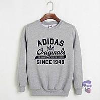 Спортивная кофта Адидас, Мужская кофта Adidas Originals, светло серая, меланж, трикотажная, реглан, свитшот