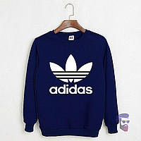 Спортивная кофта Адидас, Мужская кофта Adidas, темно-синяя, трикотажная, реглан, свитшот