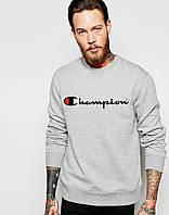 Спортивная кофта Чемпион, Мужская кофта Champion, светло серая, меланж, трикотажная, реглан, свитшот