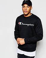 Спортивная кофта Чемпион, Мужская кофта Champion, черная, трикотажная, реглан, свитшот