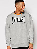 Спортивная кофта Еверласт, Мужская кофта Everlast, светло серая, меланж, трикотажная, реглан, свитшот