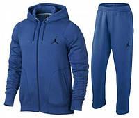 Спортивний костюм Джордан, чоловічий костюм джордан, синій, кенгуру на блискавці, трикотажний