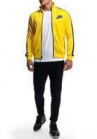 Спортивний костюм Найк, чоловічий костюм Nike, жовта кофта на змійці, чорні штани, трикотажний