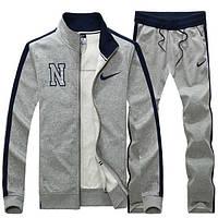 Спортивний костюм Найк, чоловічий костюм Nike, сірий на блискавці, трикотажний