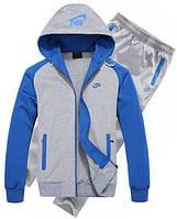 Спортивний костюм Найк, чоловічий костюм Nike сірий кенгуру, сині рукави, трикотажний