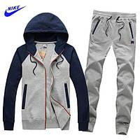 Спортивний костюм Найк, чоловічий костюм Nike, сірий з темно-синіми рукавами, трикотажні