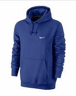 Чоловіча толстовка Найк, спортивна кофта Nike, темно-синя, трикотажна, з капюшеном, кенгуру