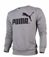 Чоловіча толстовка Пума, спортивна кофта Puma, сіра, трикотажна, з капюшеном, кенгуру