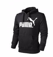Чоловіча толстовка Пума, спортивна кофта Puma, чорна, трикотажна, з капюшеном, кенгуру