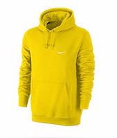 Чоловіча толстовка Найк, спортивна кофта Nike, жовта, трикотажна, з капюшеном, кенгуру