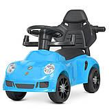 Детская каталка-толокар Porsche М 4577 с родительской ручкой 2 в 1 синий, фото 6