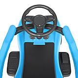 Детская каталка-толокар Porsche М 4577 с родительской ручкой 2 в 1 синий, фото 7