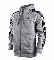 Чоловіча толстовка Адідас, спортивна кофта Adidas, сіра, трикотажна, з капюшеном, кенгуру