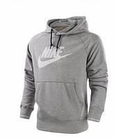 Чоловіча толстовка Найк, спортивна кофта Nike, сіра, трикотажна, з капюшеном, кенгуру