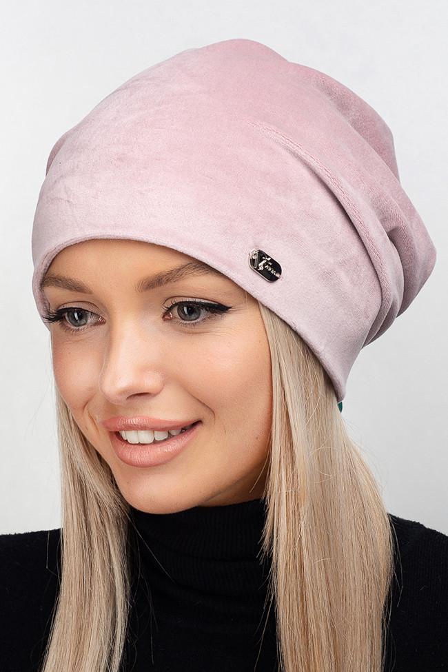 Стильна велюрова жіноча шапка