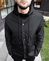 Куртка мужская чёрная ветровка S M L XL XXL(46 48 50 52 54) водоотталкивающая плащевка демисезонная