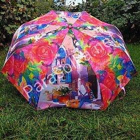 Зонт жіночий рожевий з малюнком Міста і квітів арт 787-5