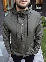 Куртка мужская серая ветровка S M L XL XXL(46 48 50 52 54) водоотталкивающая плащевка демисезонная
