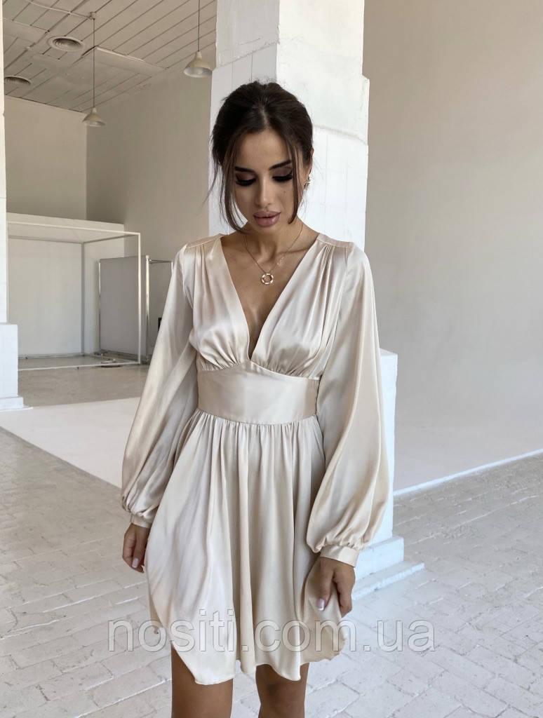 Женское демисезонное шелковое платье в греческом стиле с длинными рукавами
