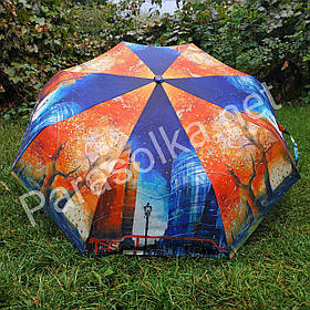 Зонт жіночий синій, помаранчевий з малюнком Міста арт 787-2